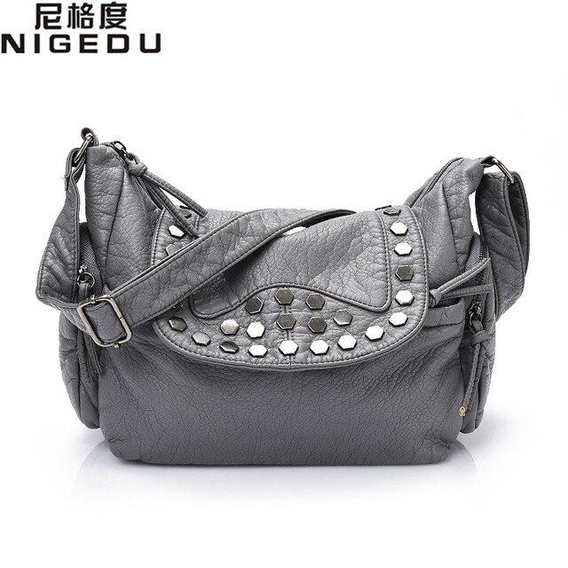 Nigedu marca moda rivet messenger bag mulheres crossbody sacos de grande saco de ombro das mulheres de couro macio pu bolsa das senhoras bolsa