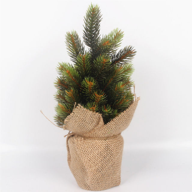 Online Shop 1 Set Artificial Christmas Tree Green Plant With Vase