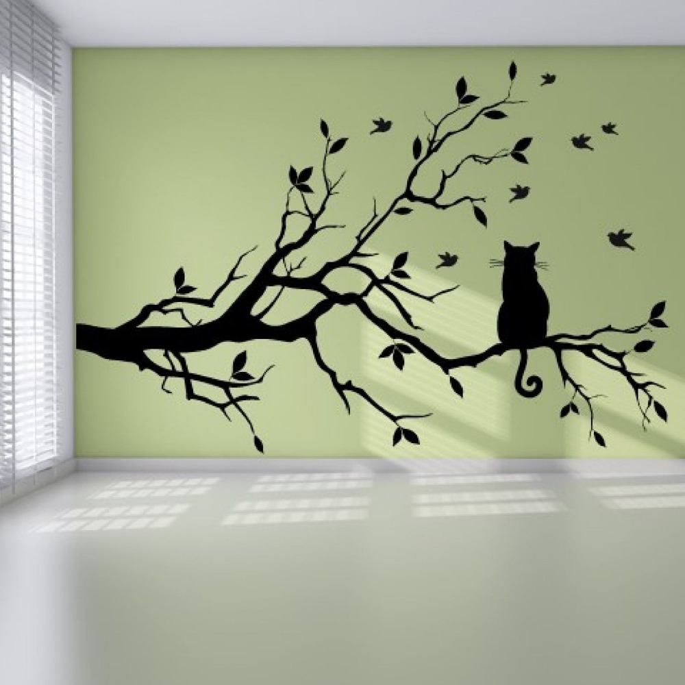 Cat On Tree Branch Birds Wall Sticker Vinyl Wall Decal Adesivi ...