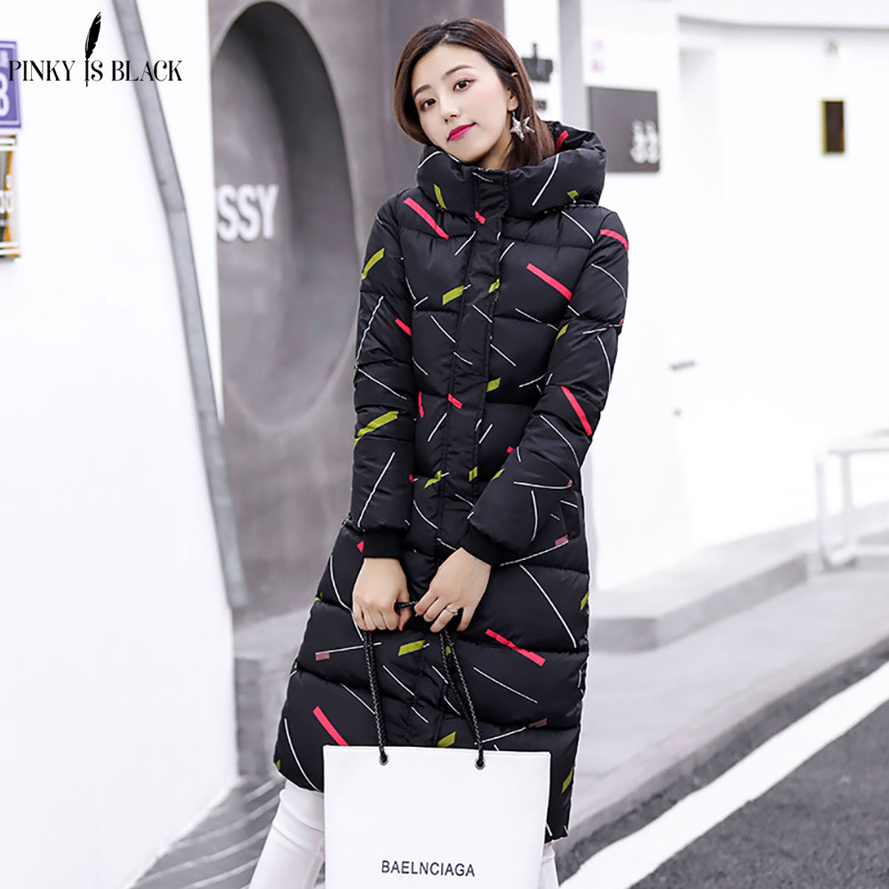 Image 3 - PinkyIsBlack 2019 new thicken wadded jacket outerwear winter jacket women coat long parkas cotton padded hooded jacket and coat-in Parkas from Women's Clothing