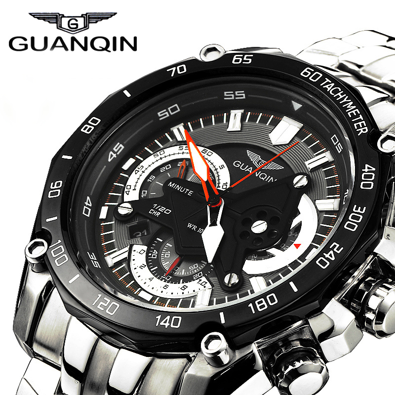 ФОТО GUANQIN New Brand Luxury Business Men's Watch Full Stainless Steel Quartz-Watch Full Function Fashion Life Waterproof Watches