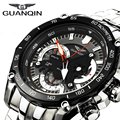 Guanqin nueva marca de lujo de negocios reloj de los hombres reloj de cuarzo de acero inoxidable completa función completa vida moda relojes a prueba de agua