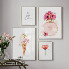 Paris Perfume Flower Ice Cream Wall Art Canvas Painting Watercolor Nordic Posters And Prints Wall Pictures For Living Room Decor fashion paris perfume red lips flower wall art canvas painting nordic posters and prints wall pictures for living room decor