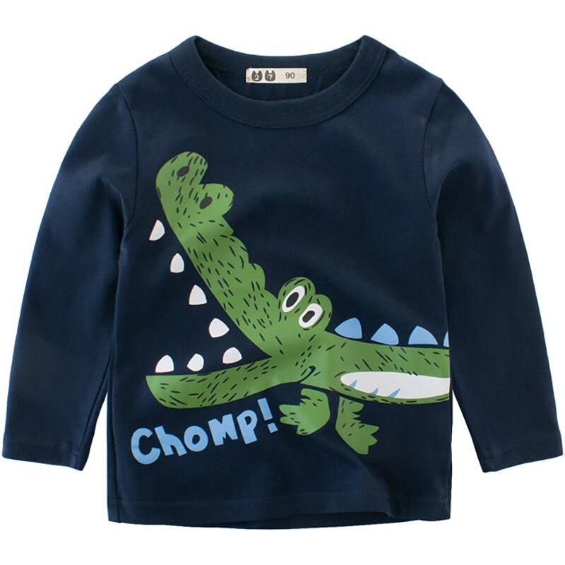 Boys T-Shirts Cute Fun Cartoon Crocodile Girls Tops Autumn Winter Kids Clothes Children Long Sleeve Tshirts Baby Cotton T Shirts