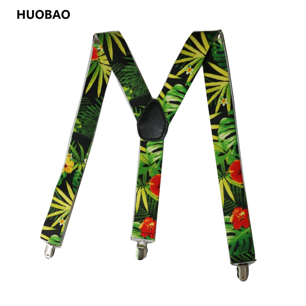 2018 New Men Adjustable 3.5cm Wide Heavy Duty Y-Back Tropical Leaves And Flowers  Suspenders For Mens