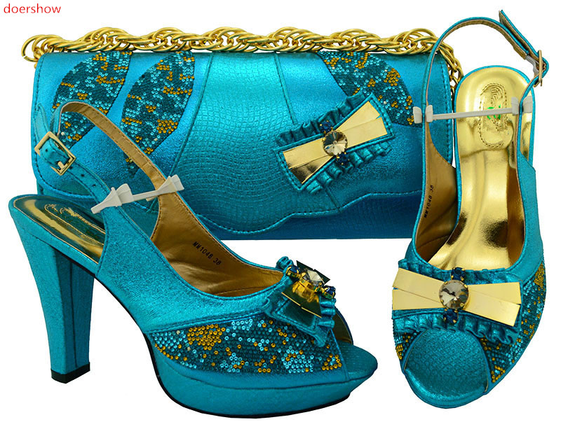 doershow African Sets blue Color African Women Italian Shoe and Bag Set Decorated with Rhinestone Nigerian Shoes and Bag!HSK1-9 doershow yellow shoe and bag set african sets italian shoes with matching bags set decorated with stones nigerian party nj1 12