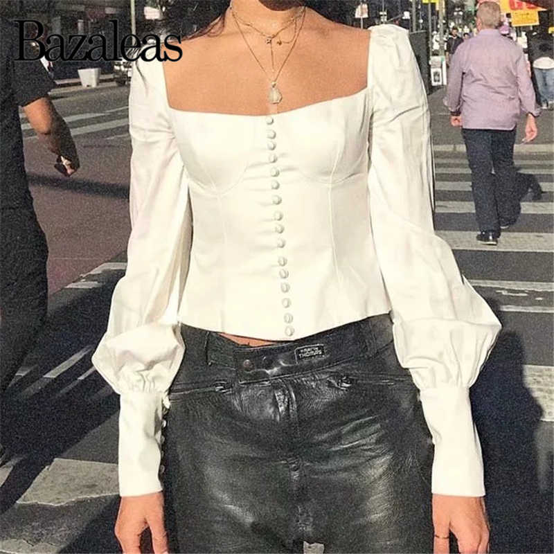 139926318f98e8 Bazaleas 2019 Vintage Back Bow womens tops and blouses Slim Buttons Blusa  Feminina White Crop blusas