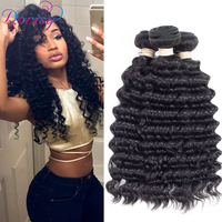 Dorisy Brazilian Deep Wave Bundles With Closure 4 4 Freepart Human Hair Bundles Weave Natural Color