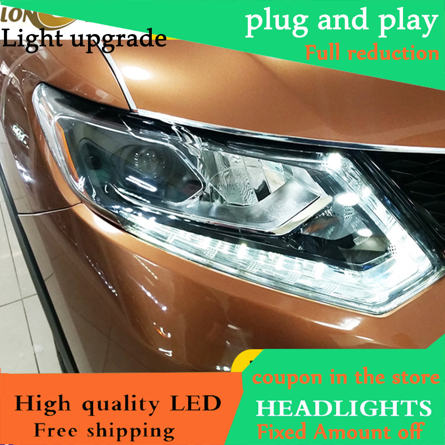 Car Styling for Nissan X Trail Headlights 2014 2016 X Trail LED Headlight DRL Double Beam