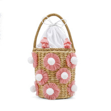 beach bag straw totes bag bucket summer bags with tassels women handbag 2018 new high quality pink Bag цена и фото