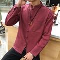 Camisa Dos Homens Manga Longa Slim Fit Camisa Masculina de alta Qualidade Homens da Camisa do Estilo chinês Plus Size Único Breasted Camisas dos homens 5XL
