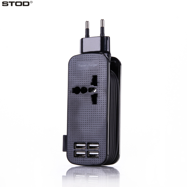 BTOD USB Travel Charger 4 Port 4.2A AC Socket 500W Cable Wind For iPhone 5 5S 6 6S 7 Plus iPad Samsung Huawei Lenovo AC Adapter