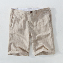 Suharvest 2018 striped linen beach shorts 29-38 size 100% flax board short mens