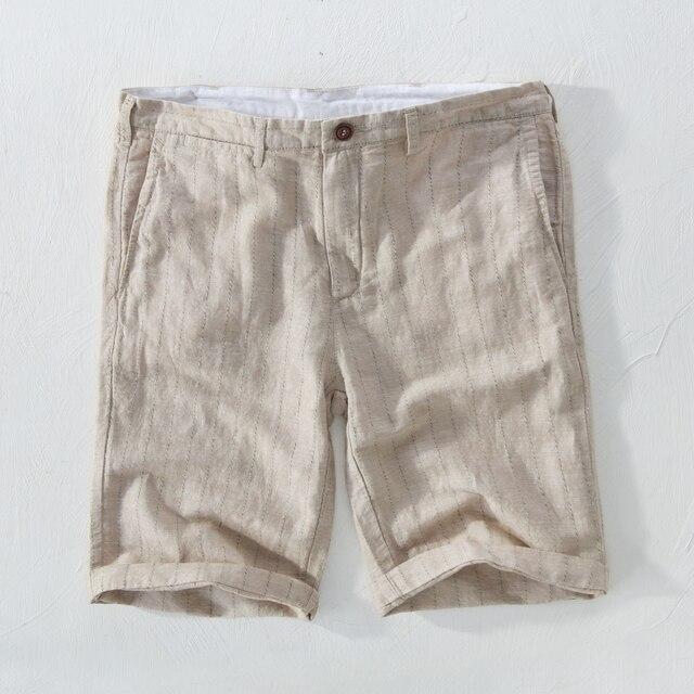 5d1e51364b 2018 New Men's striped shorts linen beach shorts men 29-38 size 100% flax  board short mens summer casual bermuda masculina