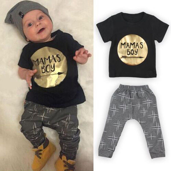 ef1b7d0853a 2Pcs Newborn Toddler Baby boys girls Infant Clothes Golden Letter Mamas Boys  Printed Jumpsuit Outfit Sets 0-24M UK