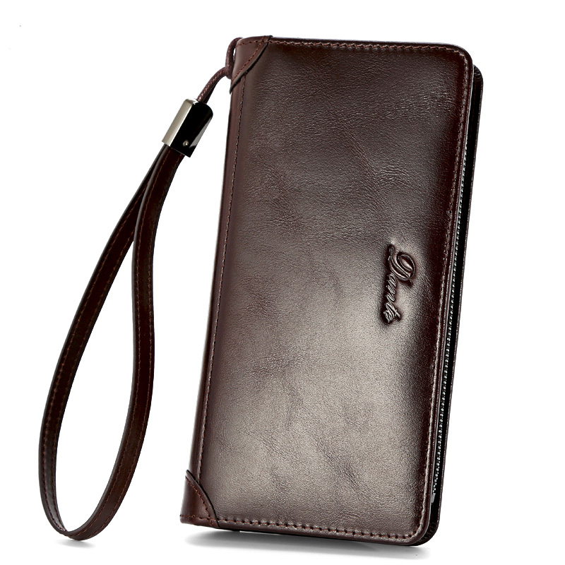Brand Zipper Men Wallets with Phone Bag Genuine Leather Clutch Wallet Large Capacity Casual Long Business Men's Wallets