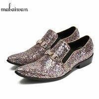 Mabaiwan 2018 модные повседневные мужские ботинки блестками Лоферы для женщин Туфли под платье Для мужчин Туфли без каблуков слипоны разноцветны