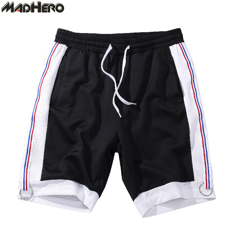 MADHERO Brand Clothing Mens Patchwork Shorts with Pockets Drawstring Elastic Waist STripes Shorts Summer Short Pants For Man