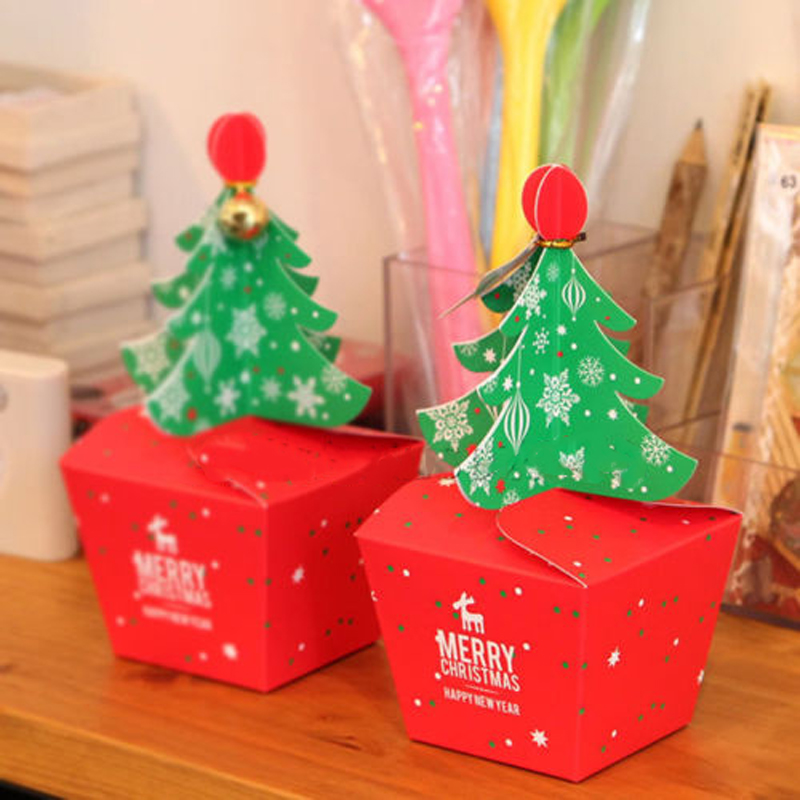 1 stück Pappe Red Weihnachtsbaum Verpackung Box Cupcakes Dessert ...