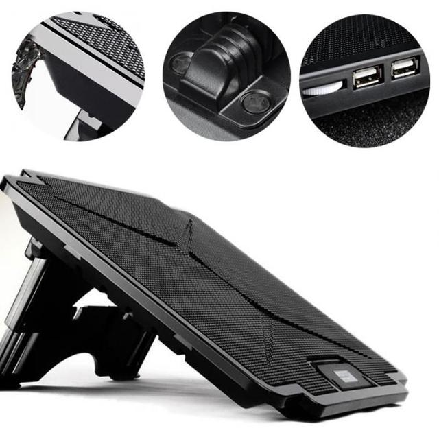 Laptop Cooler Cooling Pad Adjustable Chill Mat Stand with 2 LED Fans for 15.6 3