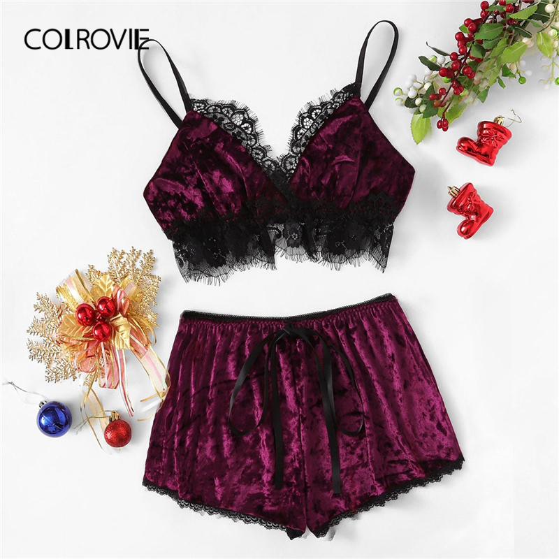COLROVIE Burgundy Christmas Lace Trim Split Cami Top And Shorts Velvet Pajama Set Women 2019 Green Sleepwear Sexy Nightwear