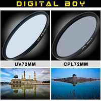 2pcs 1lot 1pcs Digital Boy 72mm UV Lens Filter 72mm Circular Polarizing CPL Filter Kit