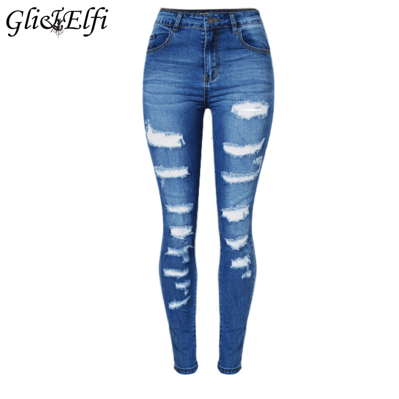 Women Clothing 2017 Summer New Fashion Irregular Hole Ripped Jeans for Women High Waist Slim Stretch Trousers Denim Pencil Pants