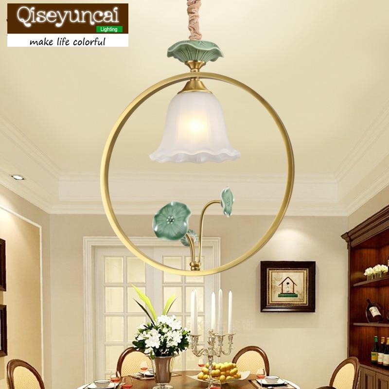 Qiseyuncai 2018 nouveau américain simple cuivre en céramique lustre personnalité créative entrée balcon allée lampe de table