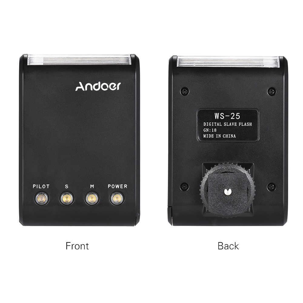 Andoer WS-25 Mini Kỹ Thuật Số Nô Lệ Đèn Flash Cho Canon Nikon Pentax Sony A7 Nex6 HX50 A99 Đèn Flash W/ giày Nóng GN18