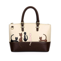 Cute Cat Pattern Leather Handbag Women Crossbody Messenger Bag Medium Shoulder Bags Lady Clutch Purses Female