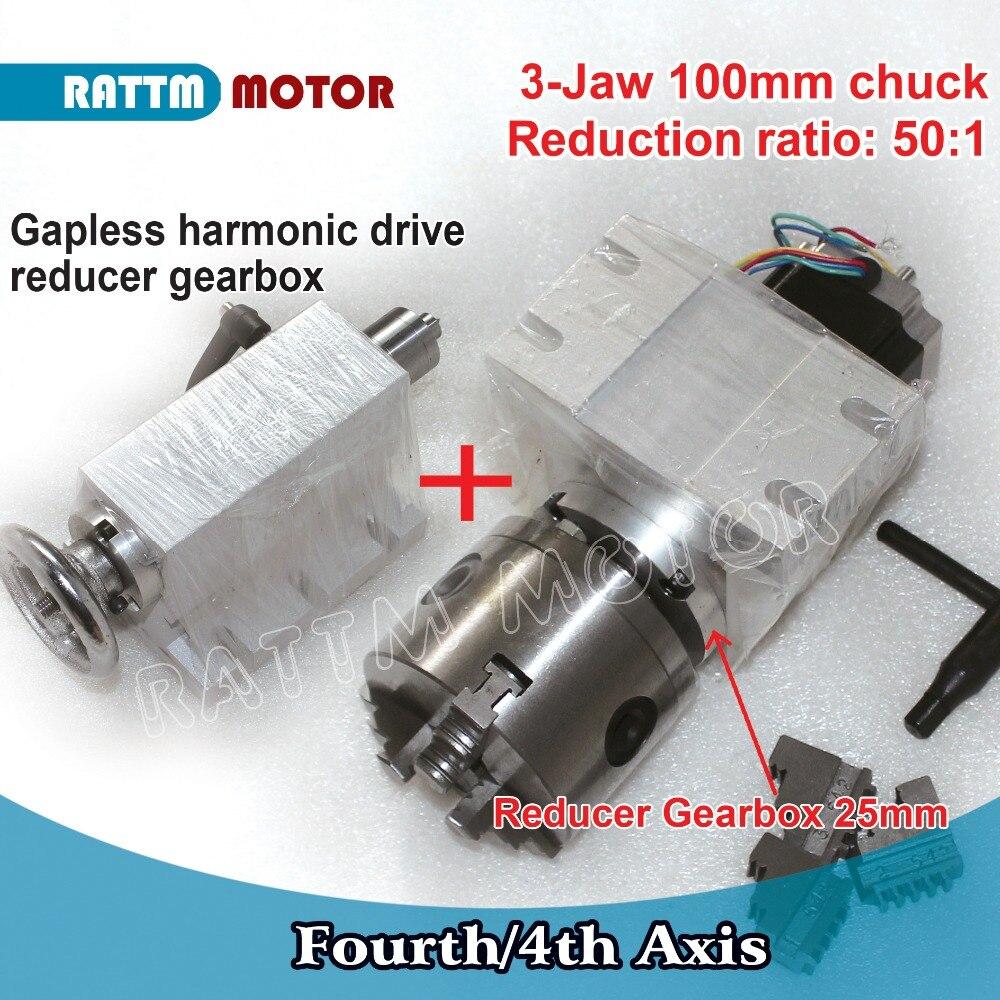 RUS/UE Navio!! 50: 1 4th Eixo (UM aixs, eixo de rotação) gapless harmonic Gearbox redutor k11-100mm dividindo head & Tailstock CNC Router