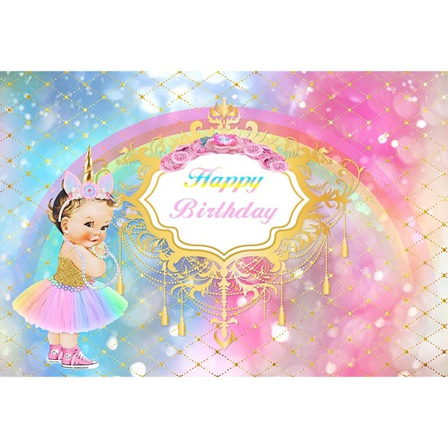 gradient unicorn theme photography background baby girl in colourful