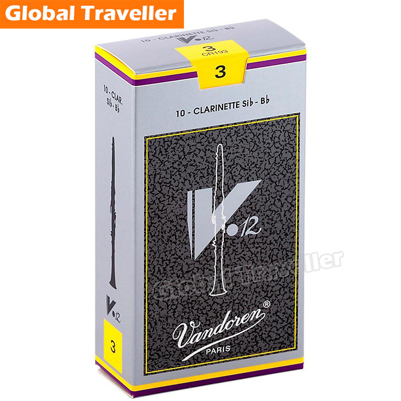 Vandoren Traditional V12 Bb Clarinet  Reeds Classical V12 Clarinet Reeds Strength 2.5/3/3.5 Reeds monolithic/Box of10