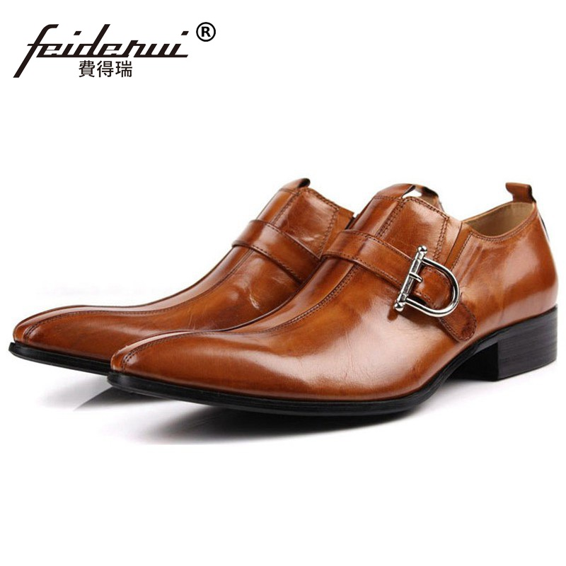 2017 Hot Sale Gentleman Dress Shoes Genuine Leather Cow Oxfords Buckle Strap Men's Pointed Toe Italian Designer Flats BD79 pu pointed toe flats with eyelet strap