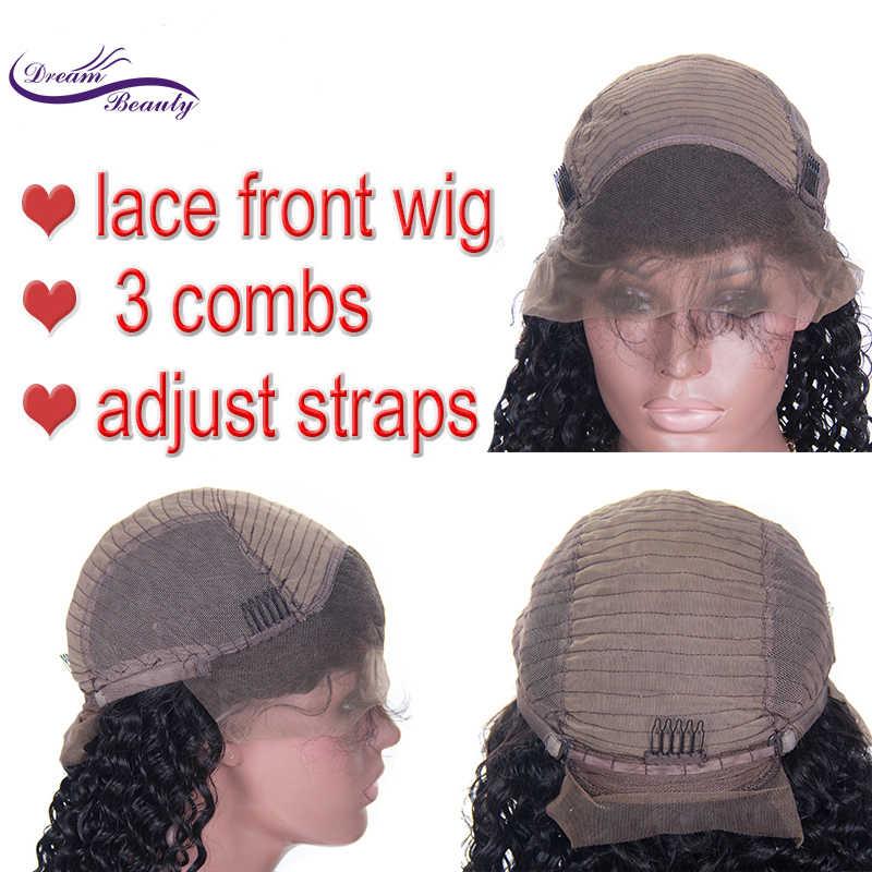 Dream Красота 13x6 Синтетические волосы на кружеве парик с ребенком вьющиеся волосы бразильские человеческие волосы Реми волосы Синтетические волосы на кружеве парик