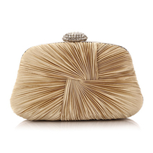 Ruched Satin Designer Women Evening Bag gold clutch famous brand clutch wallet Party ladies evening bags pochette soiree L407