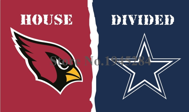 NFL Arizona Cardinals Dallas Cowboys House Divided Flag 3x5ft 150x90cm Polyester Flag Banner, free shipping