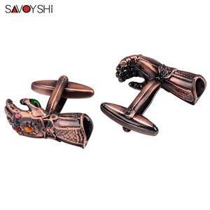 Image 3 - SAVOYSHI Novelty gloves Shaped Cufflinks for Mens Suit Shirt Cuff High quality Red Copper Cuff links Brand Male Jewelry Gift
