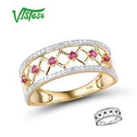 VISTOSO 14K Y/W Gold Rings For Women Genuine Shining Diamond Fancy Ruby/Blue Sapphire Engagement Anniversary Unique Fine Jewelry