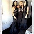 Black Bridesmaid Dresses Halter Mermaid Appliques Satin Off The Shoulder Lace Vestido De Festa Vestidos Para Madrinhas W102105