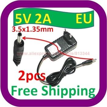 Envío Gratis 5 V DC 2A 2000mA adaptador de CA 3,5mm x 1,35mm enchufe de la UE fuente de alimentación del cargador de pared del hogar cable