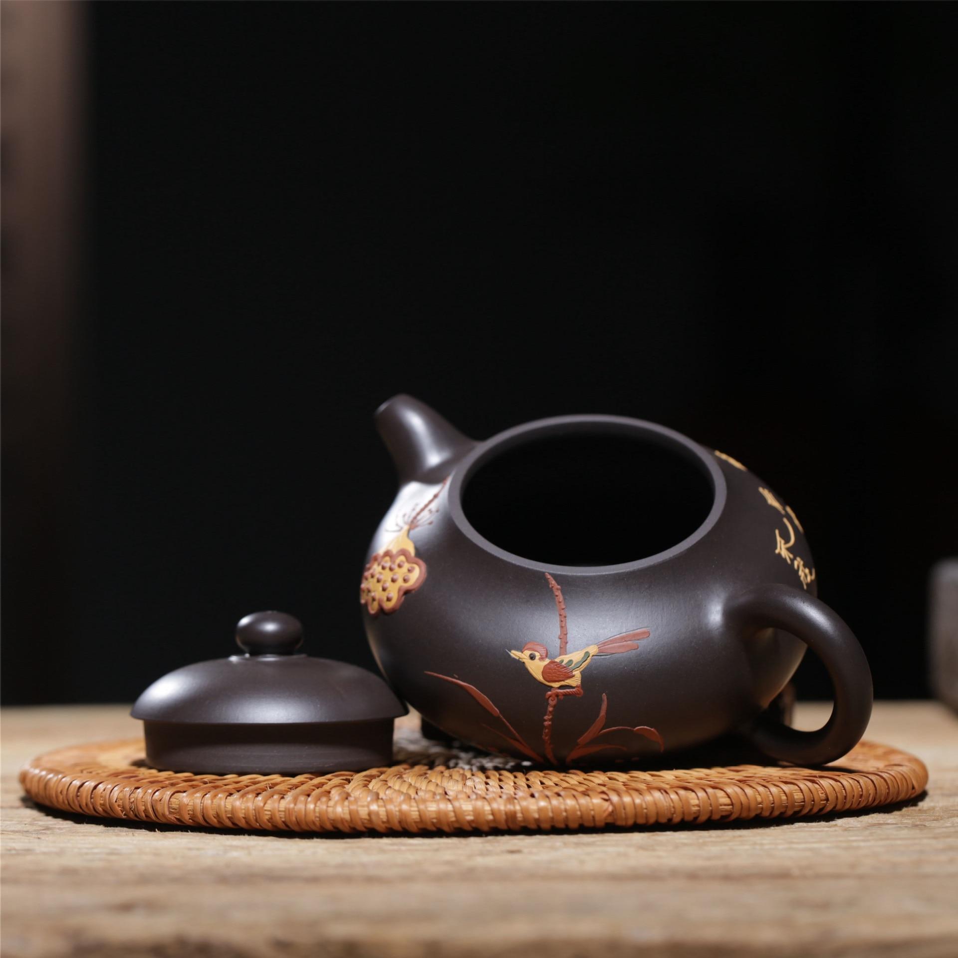 Известная ручная НЕОБРАБОТАННАЯ руда черного грязевого цветной рисунок или узор Xi Shi чайник завод прямой Wechat бизнес бесплатно агент - 3