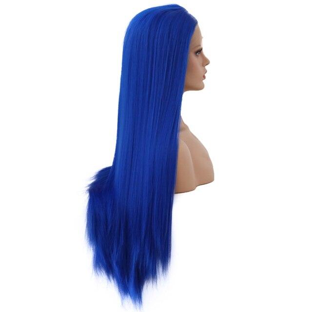 Charyzma długie proste włosy syntetyczna koronka peruka Front odporne na ciepło niebieski peruka wstępnie oskubane Glueless peruki dla czarnych kobiet