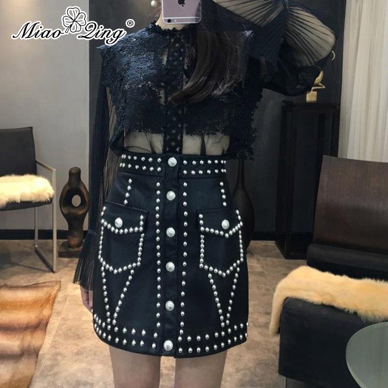 8c6b63addd Alta Cuero Punk Negro Noche 2019 Mini Las Mujeres Blanco Miaoqing Señoras  Lápiz Remache Para De Fiesta Falda Pu ...