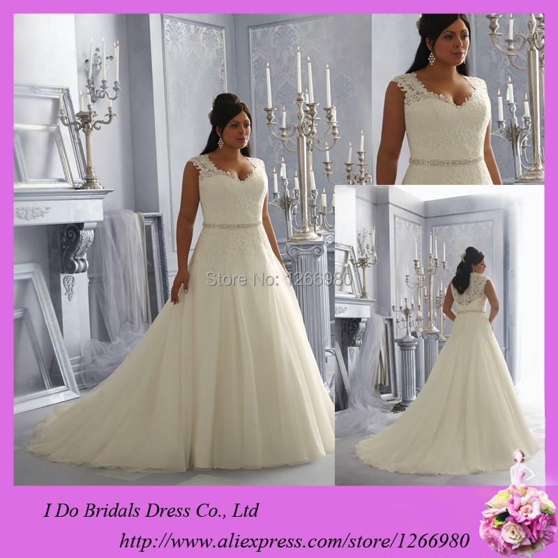 2014 Wedding Gowns For Fat Bride A Line Appliqued Beads