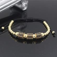 PINIYA Drop Shipping Fashion Micro Pave CZ Rhombic Charm Gold Color Copper Beads Mens Braiding Macrame Bracelet Jewelry