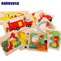 Montessori toys kids/children educational wooden toys multilayer cartoon 3D animal puzzle baby gift educational toys