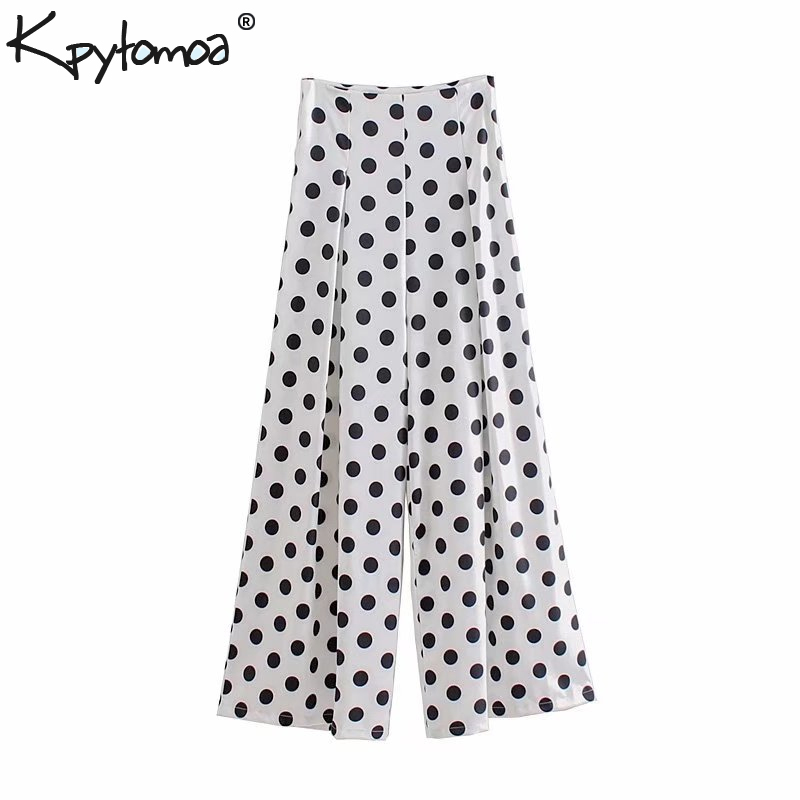 Vintage Polka Dot Pleated   Wide     Leg     Pants   Women 2019 New Fashion Pockets Back Zipper Loose Ladies Trousers Casual Pantalon Femme
