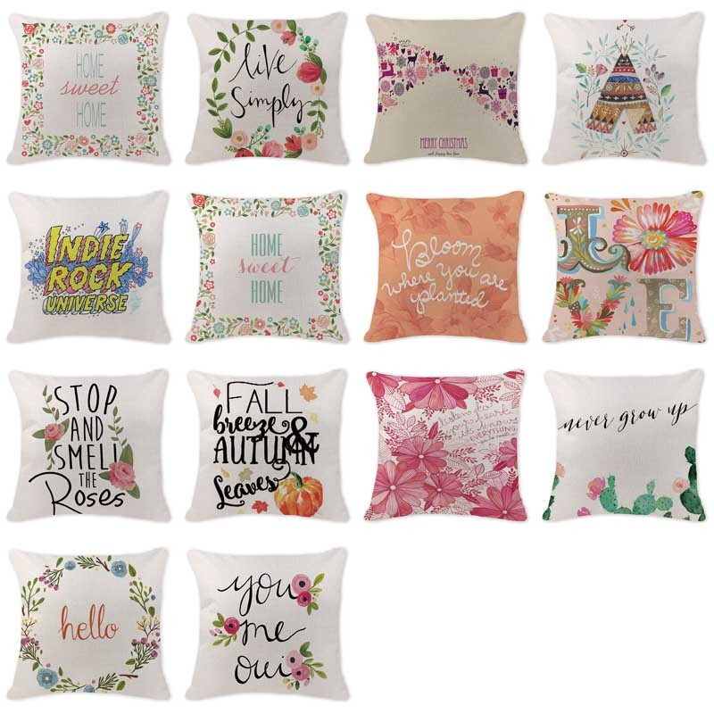 Stylish Cushion Covers Garland Letter Tent Decorative Pillows For Sofa Chair Office 18 C ...