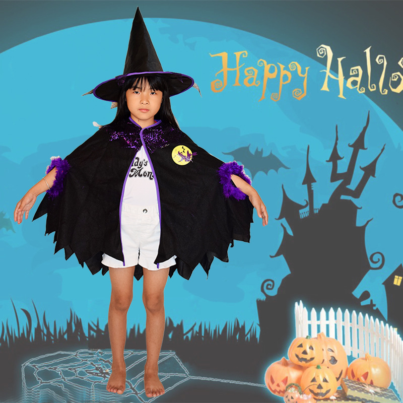 Kids Happy Halloween Costume Set Wizard Witch Cloak and Hat for Boys Girls Perfect For Halloween Cosplay Costumes Free shipping